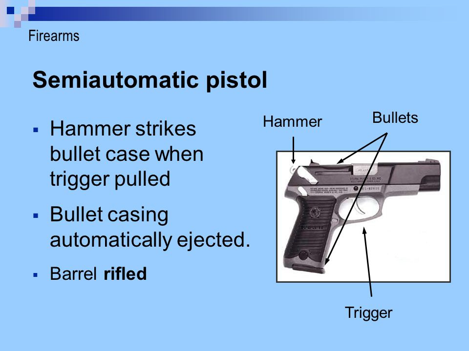 Semiautomatic pistol Hammer strikes bullet case when trigger pulled