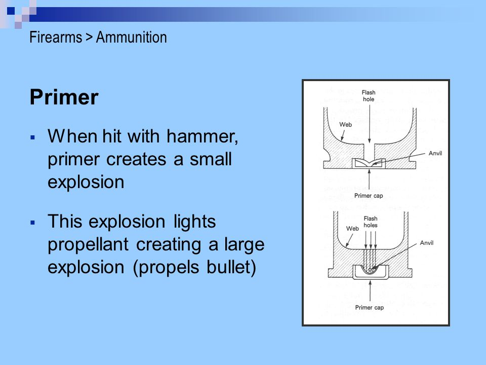 Primer When hit with hammer, primer creates a small explosion