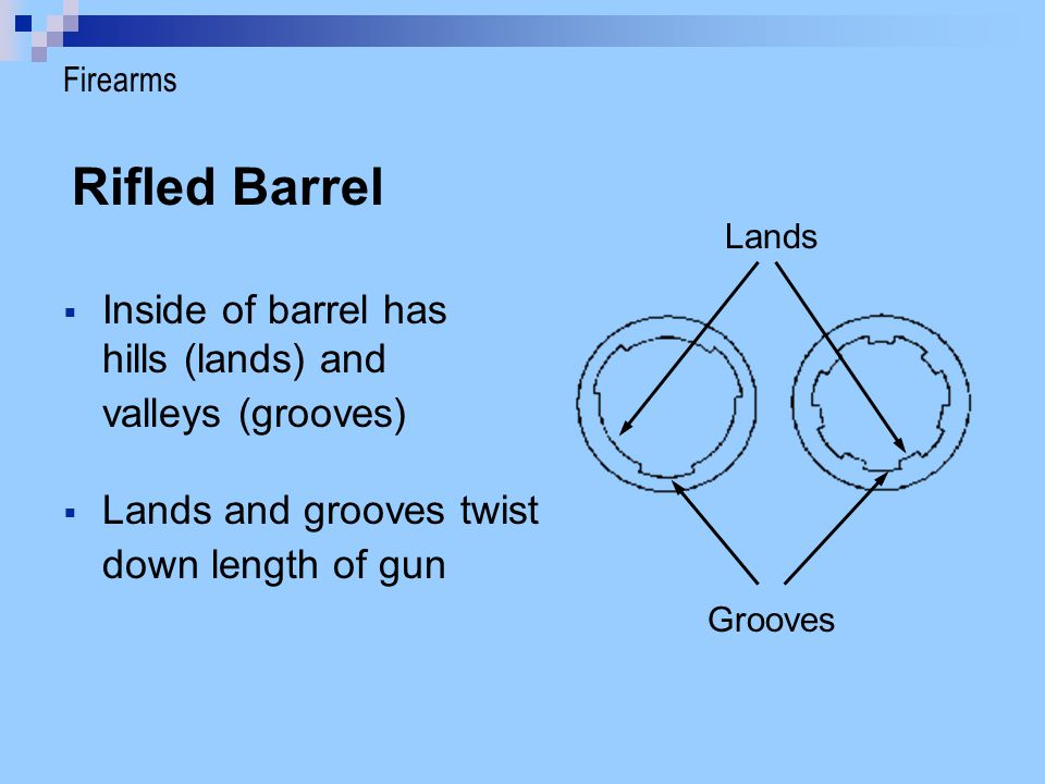 Rifled Barrel Inside of barrel has hills (lands) and valleys (grooves)