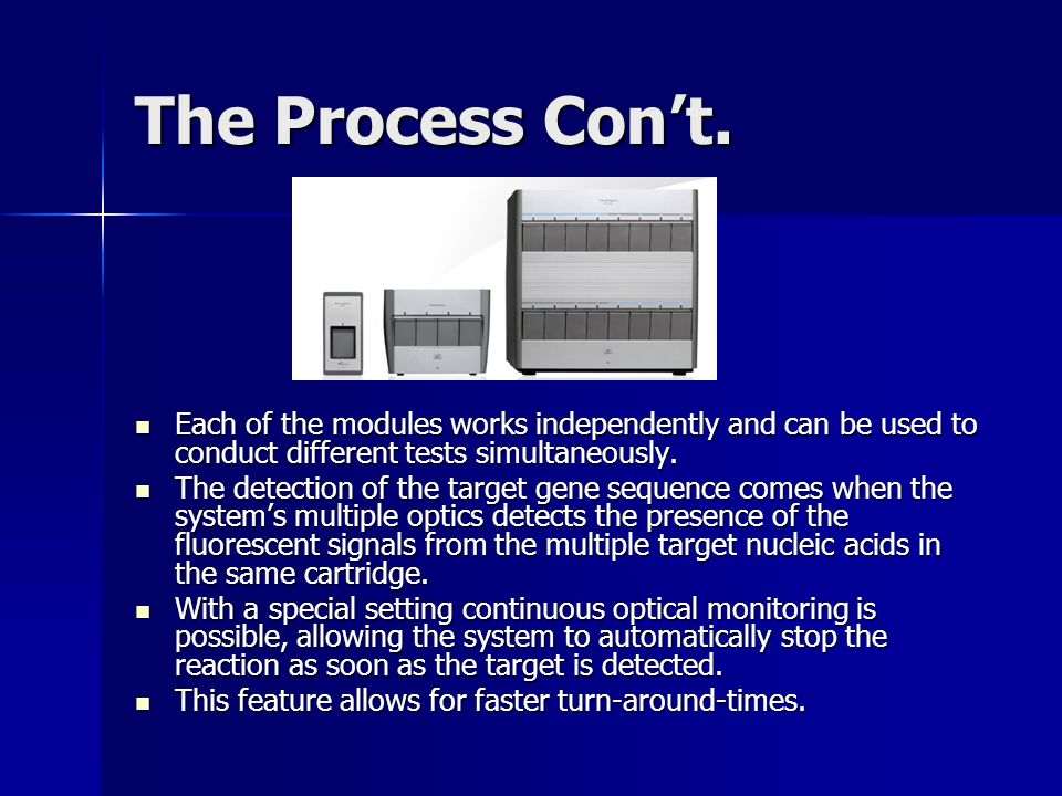 The Process Con't. Each of the modules works independently and can be used to conduct different tests simultaneously.