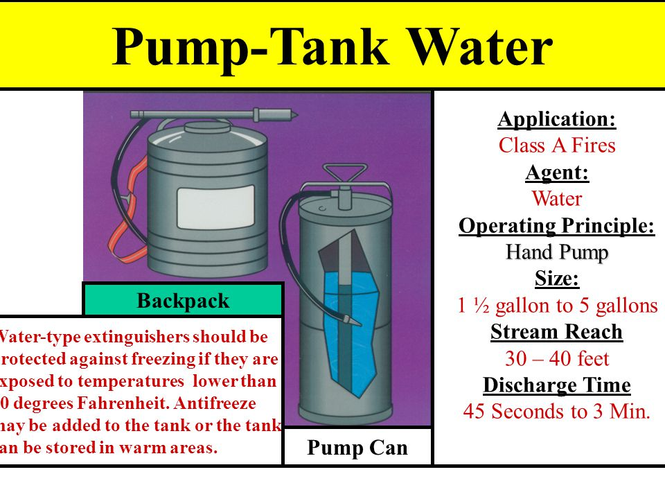Pump-Tank Water Application: Class A Fires Agent: Water