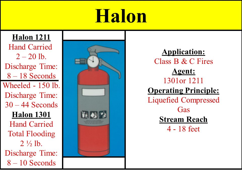 Halon Halon 1211 Hand Carried Application: 2 – 20 lb.