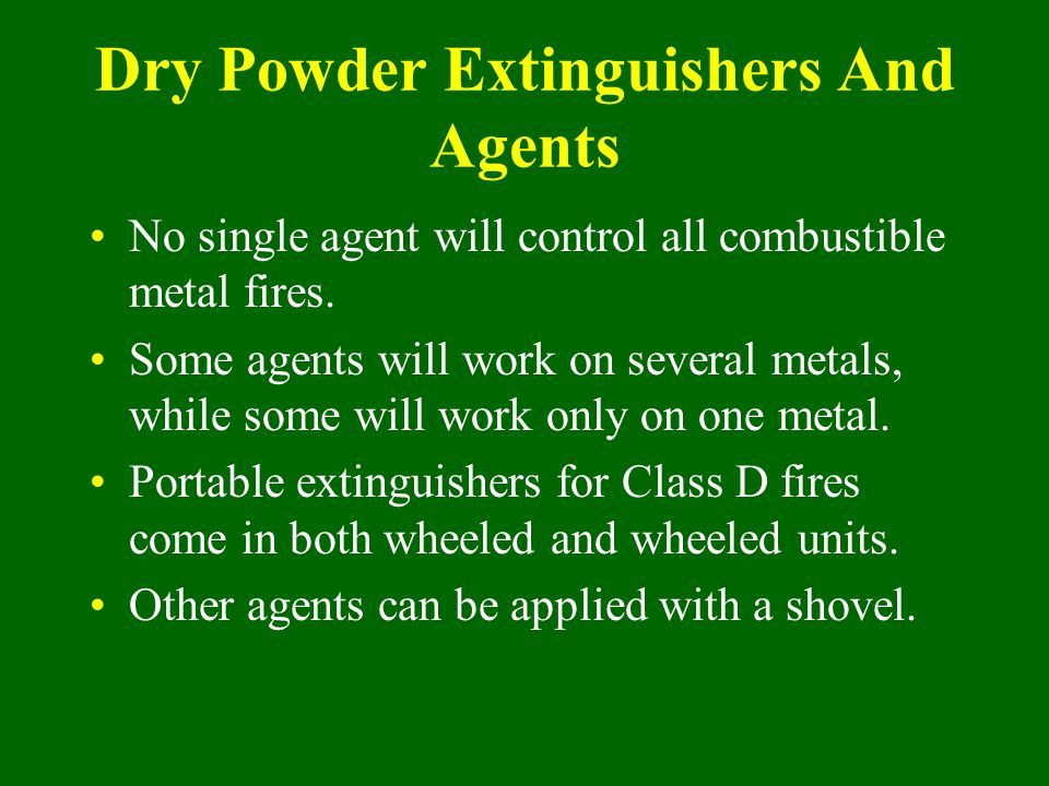 Dry Powder Extinguishers And Agents