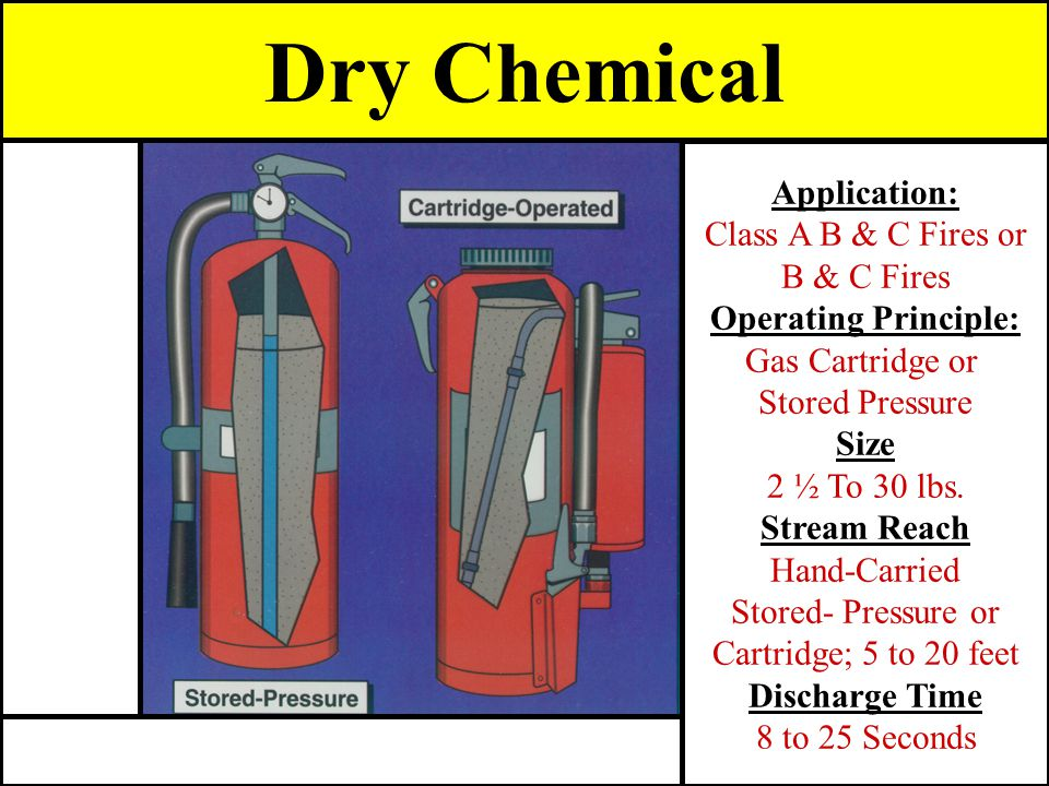Dry Chemical Application: Class A B & C Fires or B & C Fires