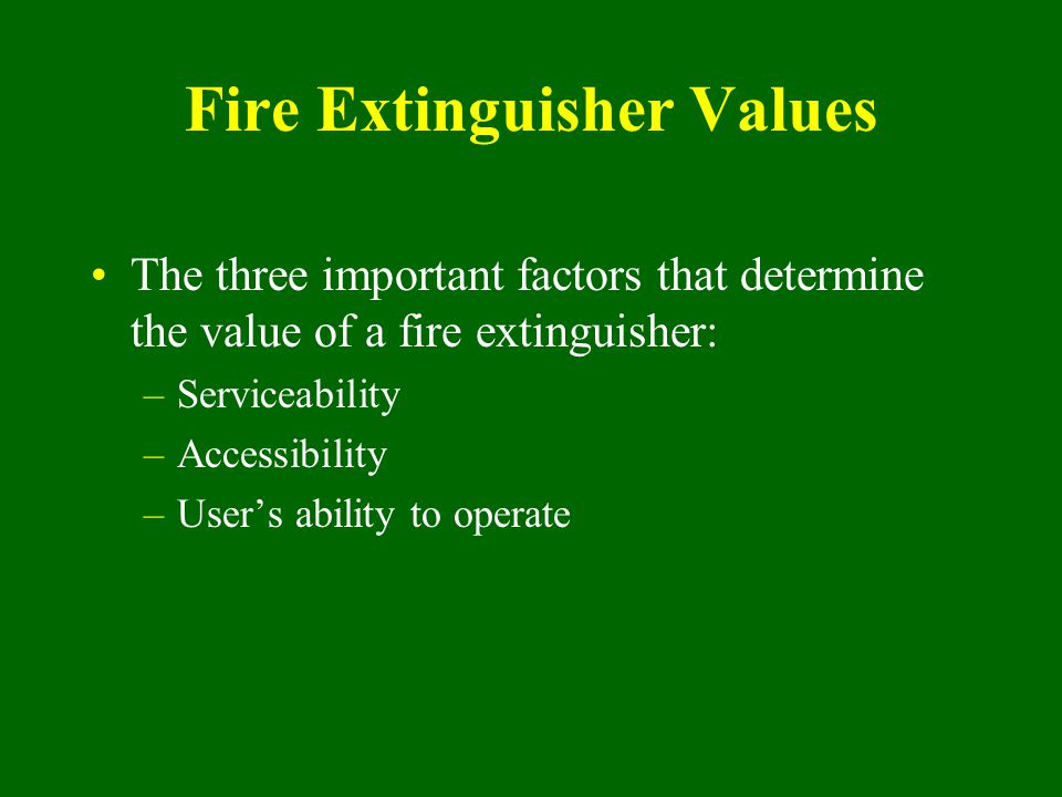 Fire Extinguisher Values