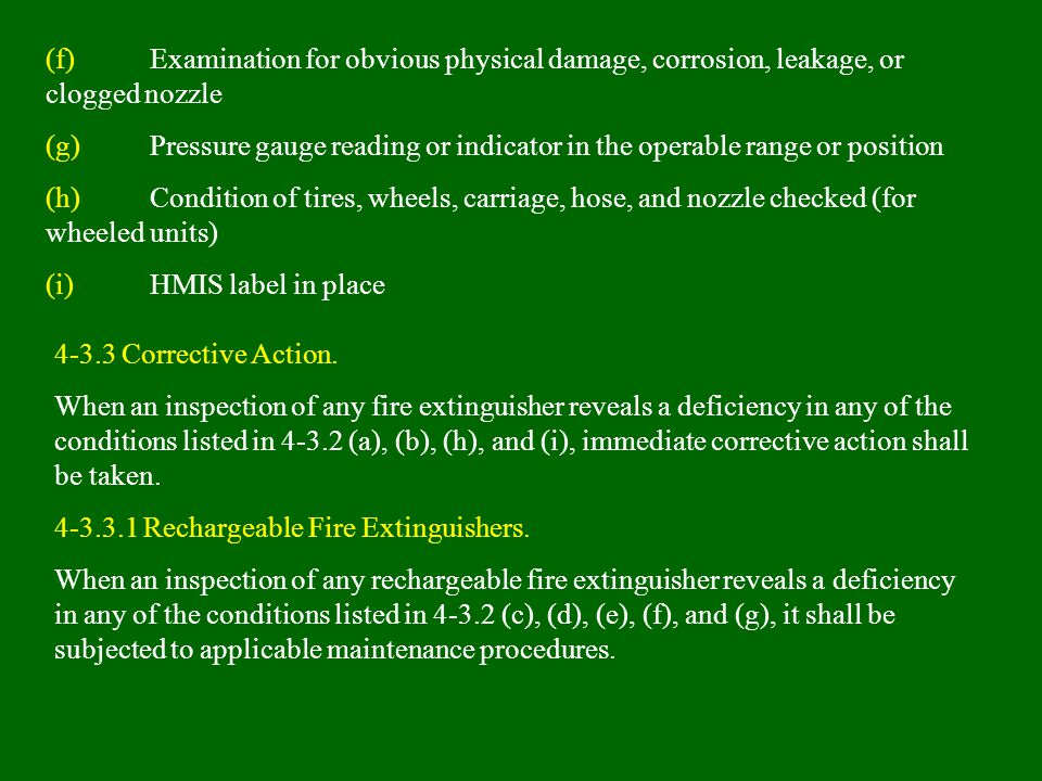 (f) Examination for obvious physical damage, corrosion, leakage, or clogged nozzle