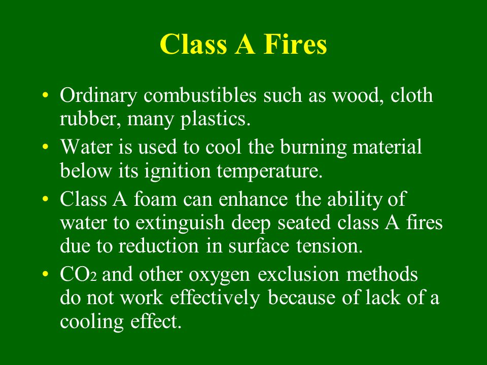 Class A Fires Ordinary combustibles such as wood, cloth rubber, many plastics.