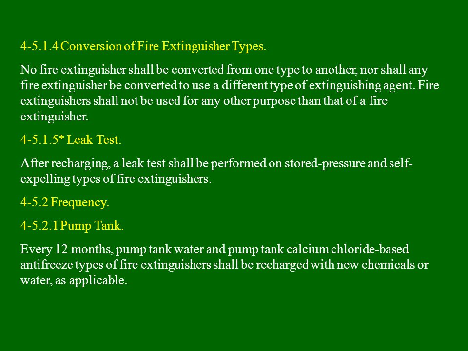 4-5.1.4 Conversion of Fire Extinguisher Types.