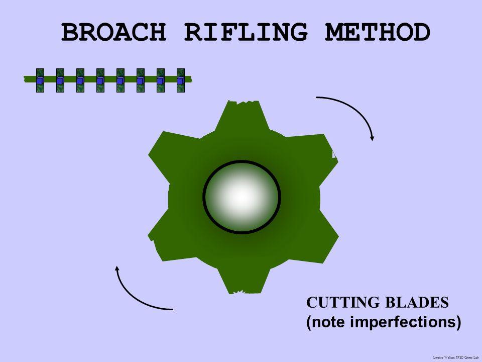 BROACH RIFLING METHOD CUTTING BLADES (note imperfections) J.M. Saloom
