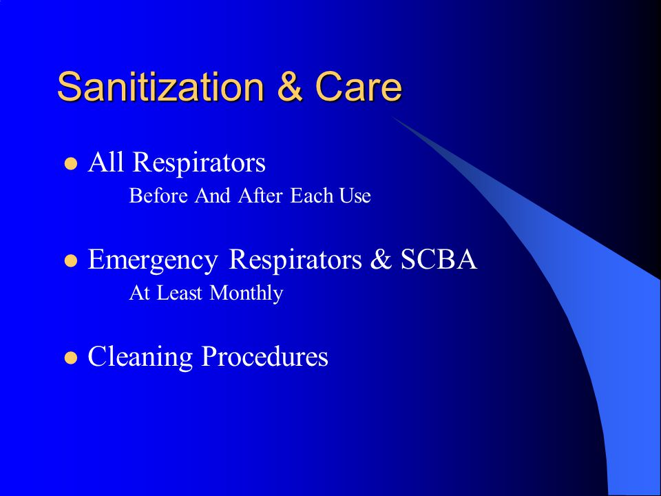 Sanitization & Care All Respirators Emergency Respirators & SCBA