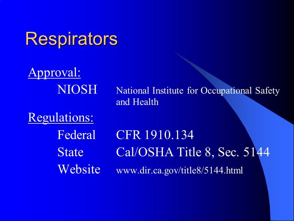 Respirators Approval: