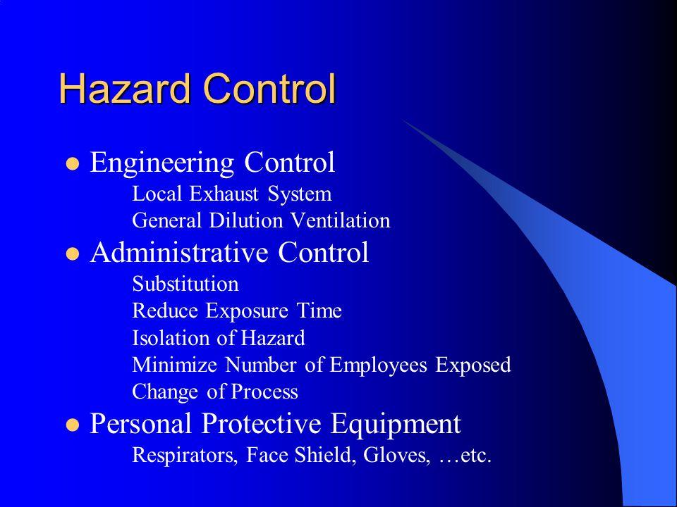 Hazard Control Engineering Control Administrative Control