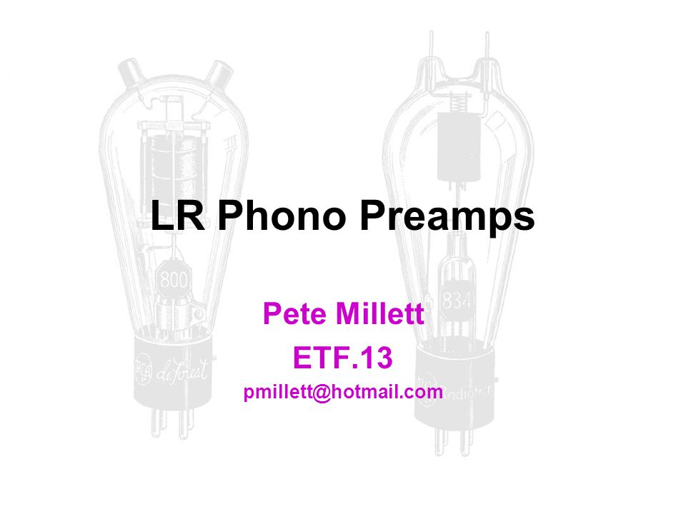 Pete Millett ETF.13 pmillett@hotmail.com