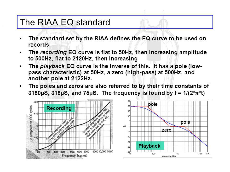 The RIAA EQ standard The standard set by the RIAA defines the EQ curve to be used on records.