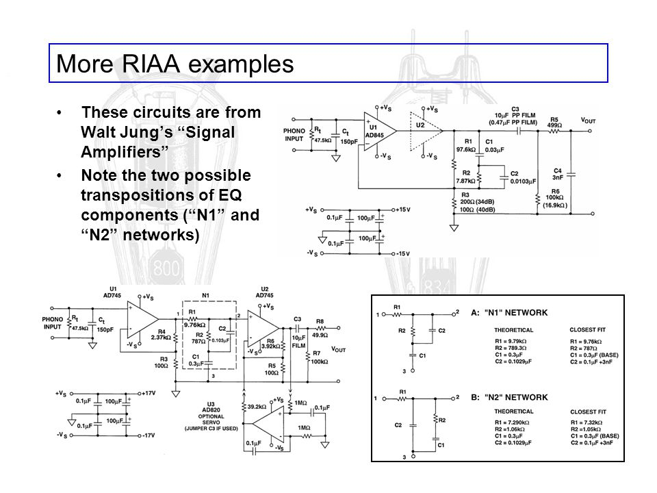 More RIAA examples These circuits are from Walt Jung's Signal Amplifiers