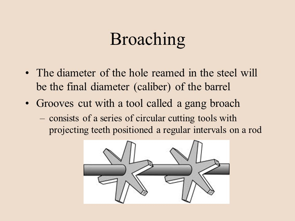 Broaching The diameter of the hole reamed in the steel will be the final diameter (caliber) of the barrel.