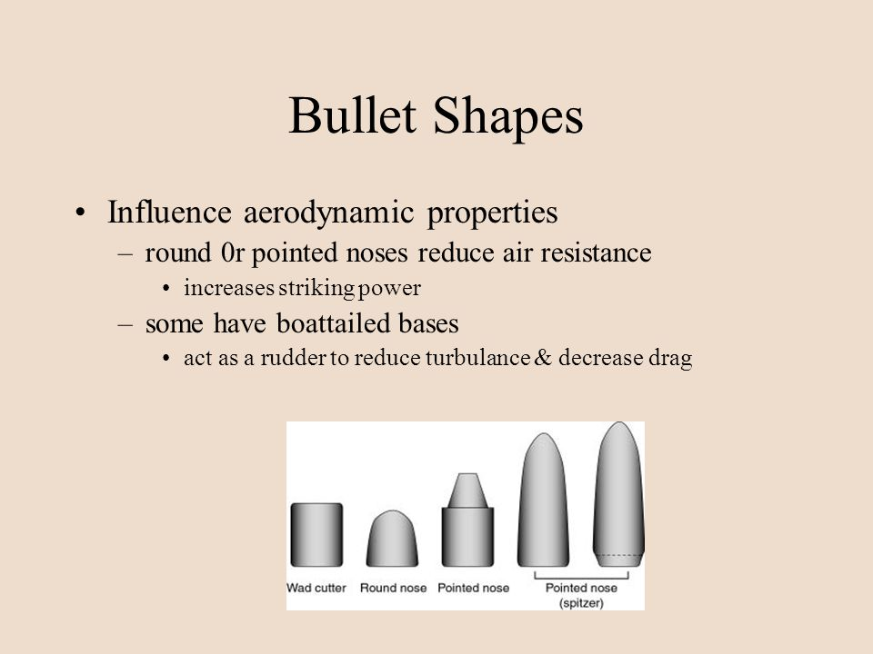 Bullet Shapes Influence aerodynamic properties
