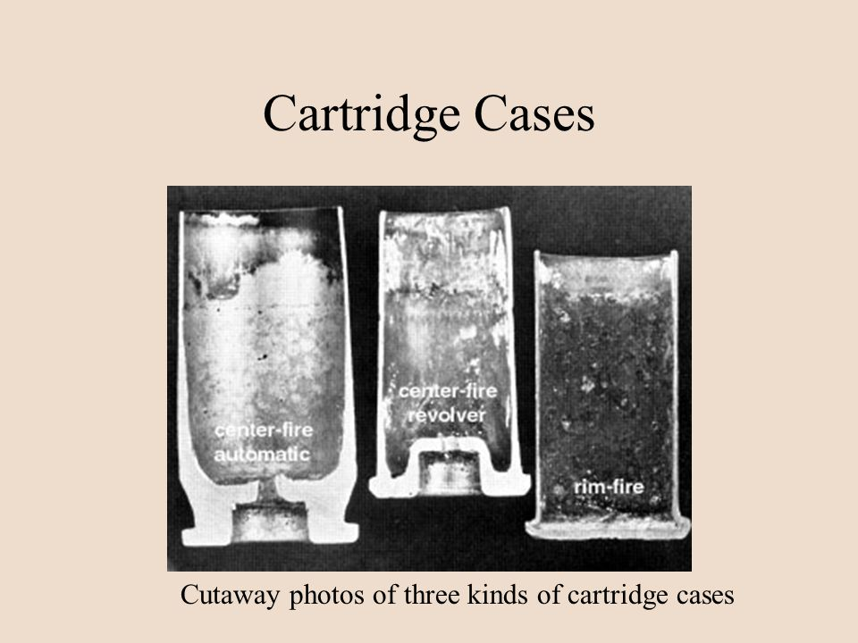 Cartridge Cases Cutaway photos of three kinds of cartridge cases