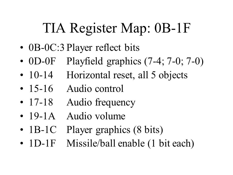 TIA Register Map: 0B-1F 0B-0C:3 Player reflect bits