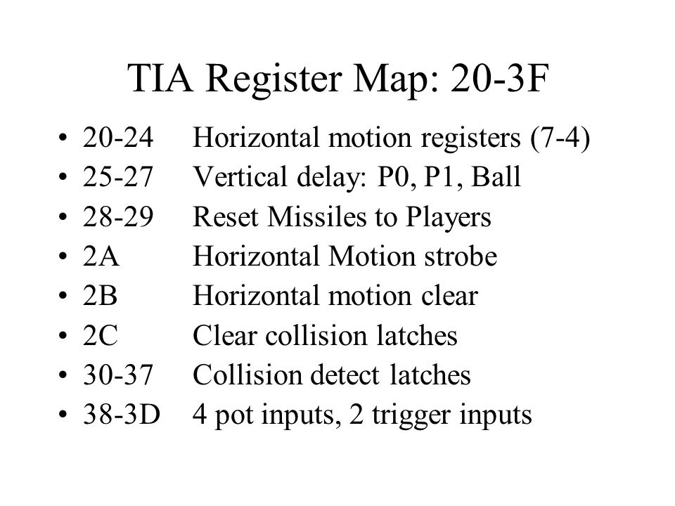 TIA Register Map: 20-3F 20-24 Horizontal motion registers (7-4)
