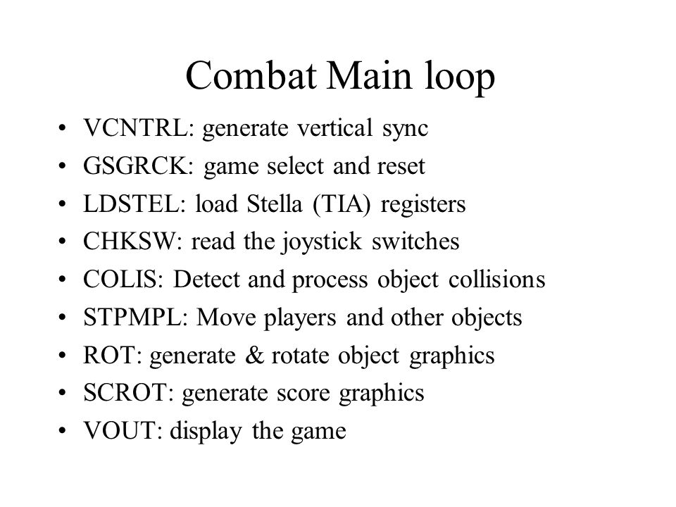 Combat Main loop VCNTRL: generate vertical sync