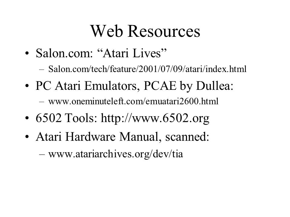 Web Resources Salon.com: Atari Lives