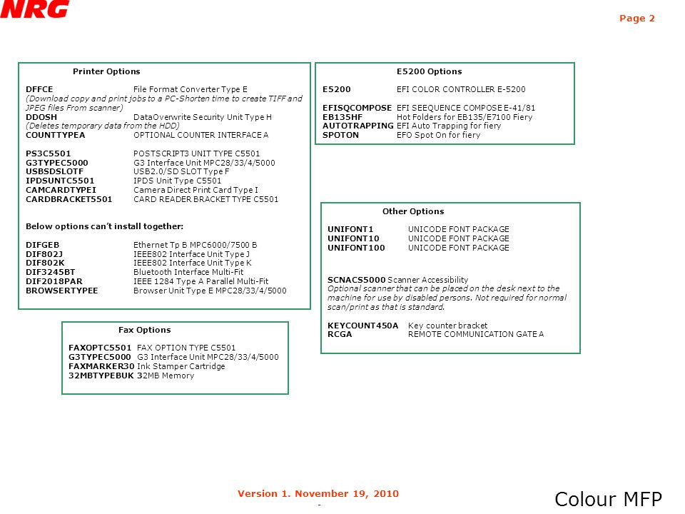 Colour MFP Page 2 Version 1. November 19, 2010 -