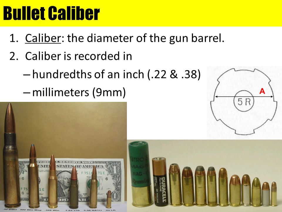 Bullet Caliber Caliber: the diameter of the gun barrel.