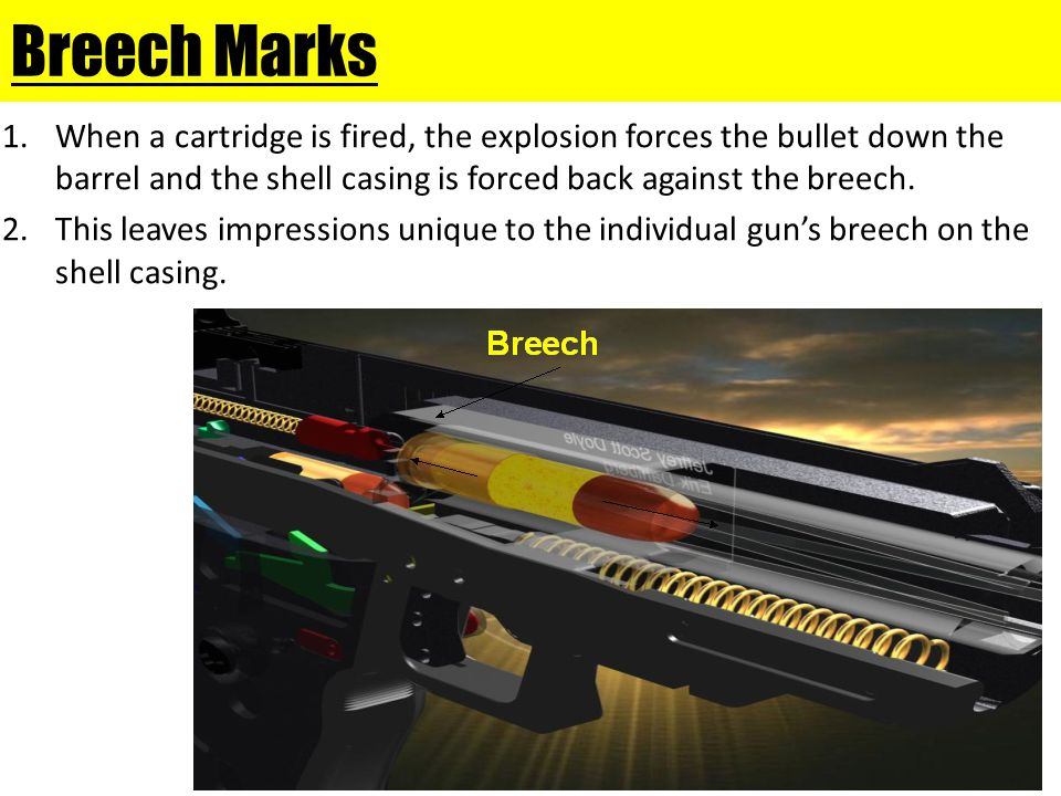 Breech Marks When a cartridge is fired, the explosion forces the bullet down the barrel and the shell casing is forced back against the breech.