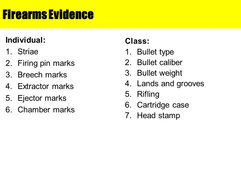 Firearms Evidence Individual: Striae Firing pin marks Breech marks