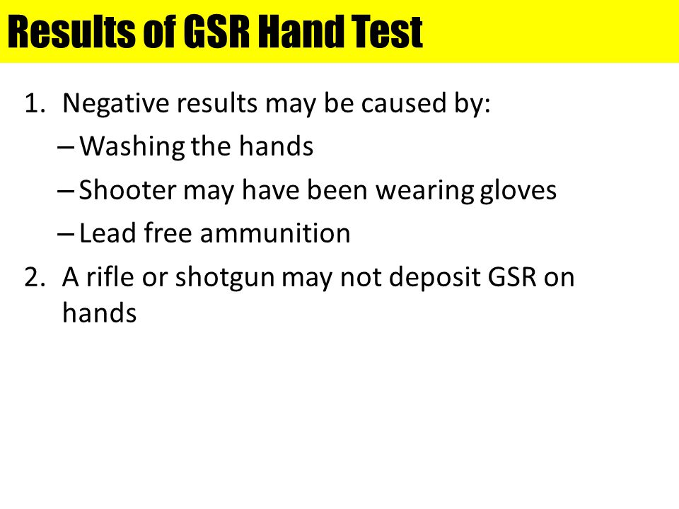 Results of GSR Hand Test
