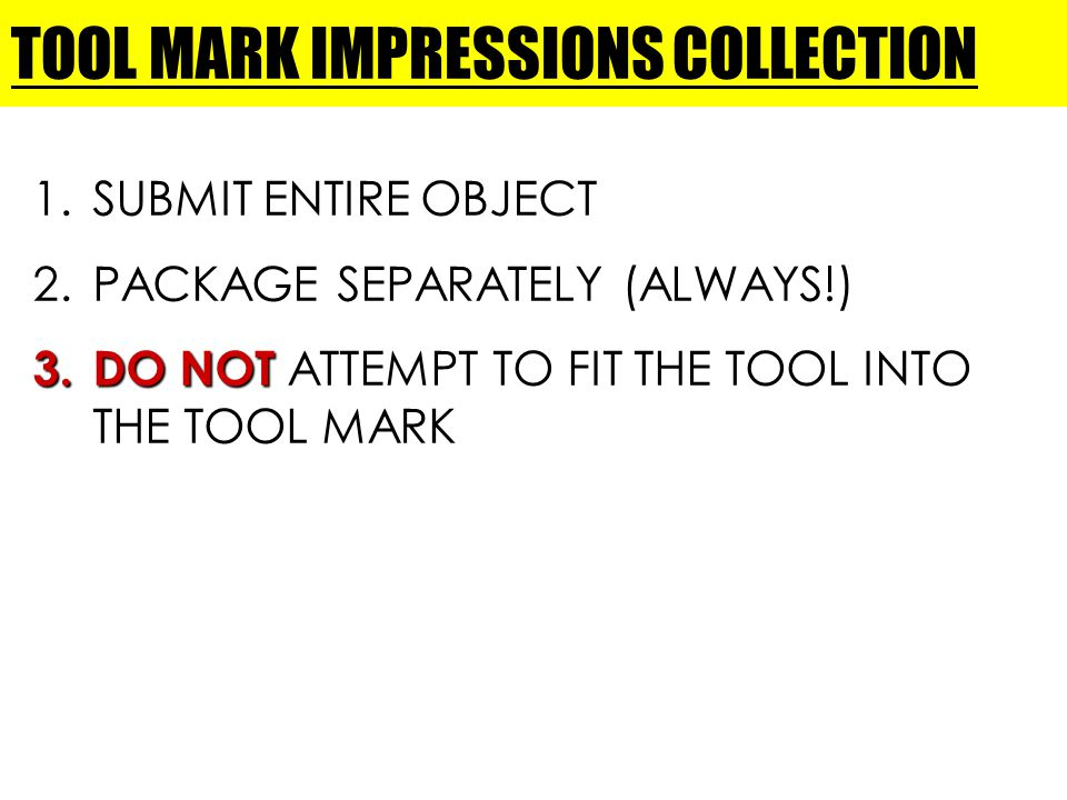 TOOL MARK IMPRESSIONS COLLECTION