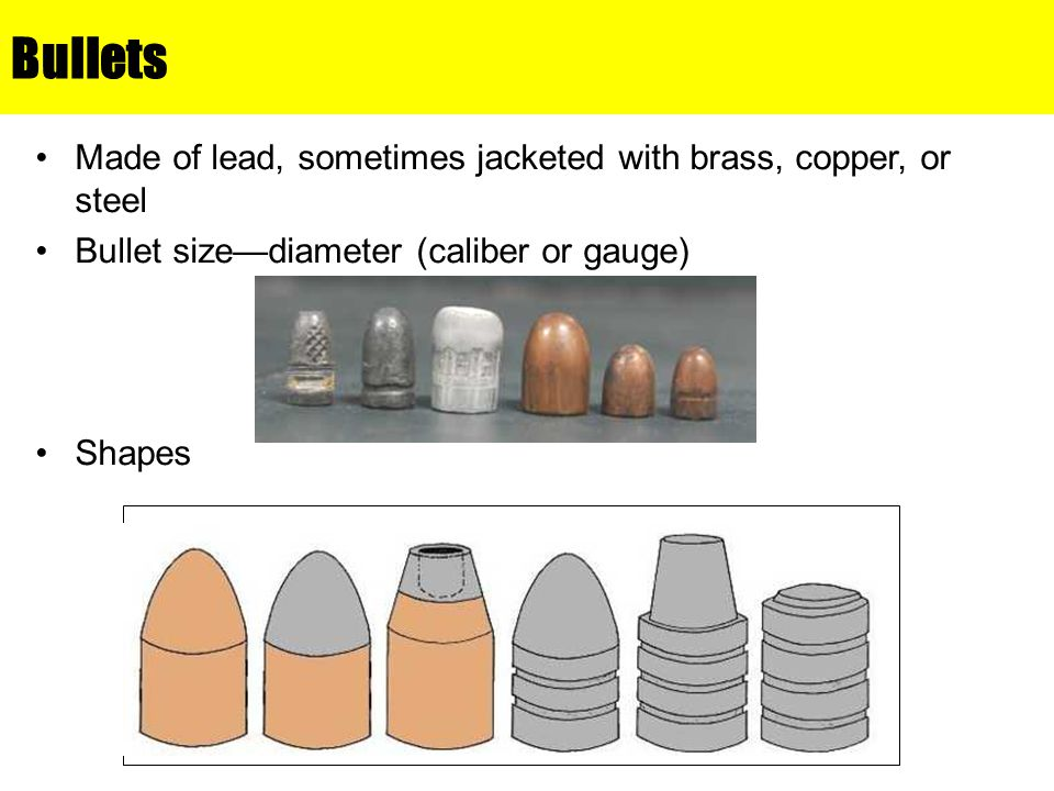 Bullets Made of lead, sometimes jacketed with brass, copper, or steel