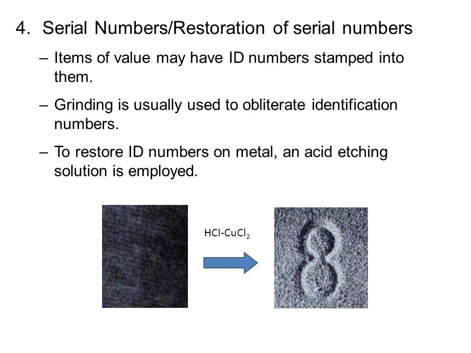 Serial Numbers/Restoration of serial numbers