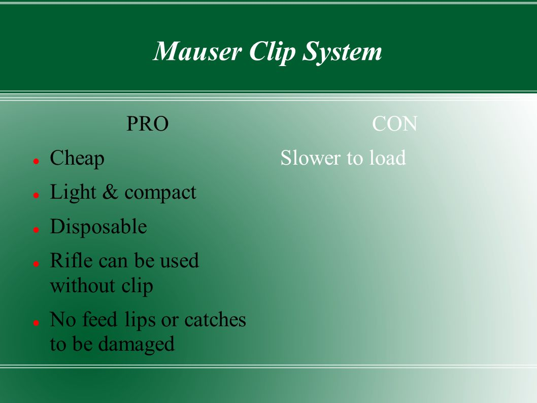Mauser Clip System PRO Cheap Light & compact Disposable