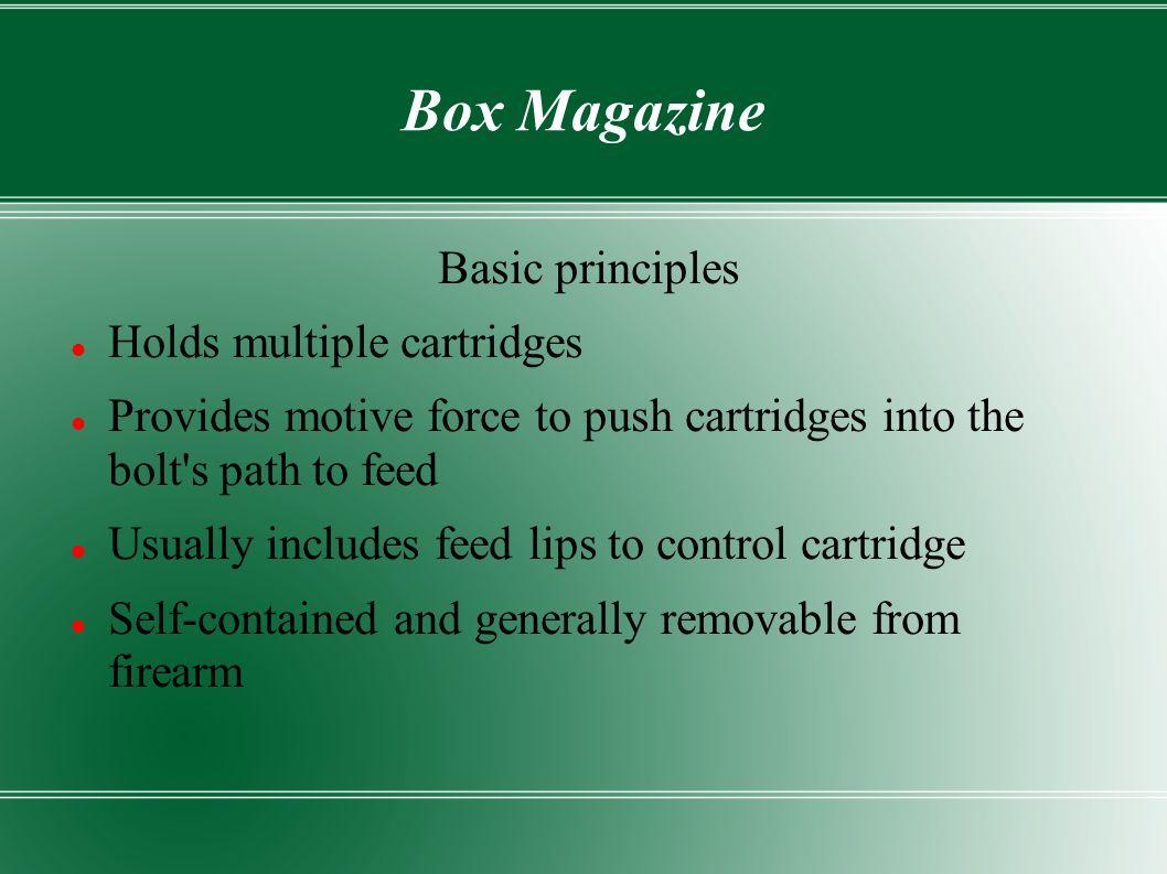 Box Magazine Basic principles Holds multiple cartridges