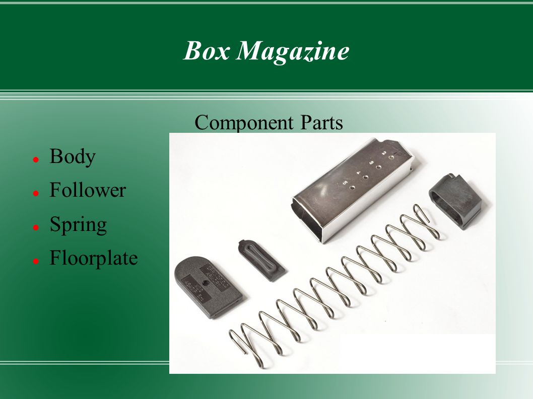 Box Magazine Component Parts Body Follower Spring Floorplate