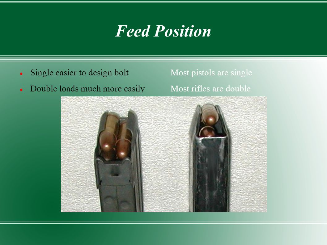 Feed Position Single easier to design bolt