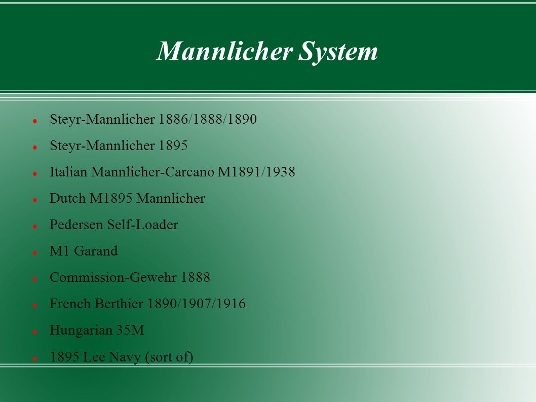 Mannlicher System Steyr-Mannlicher 1886/1888/1890