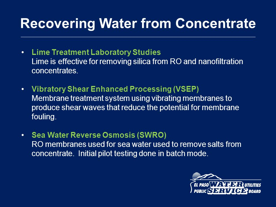 Recovering Water from Concentrate