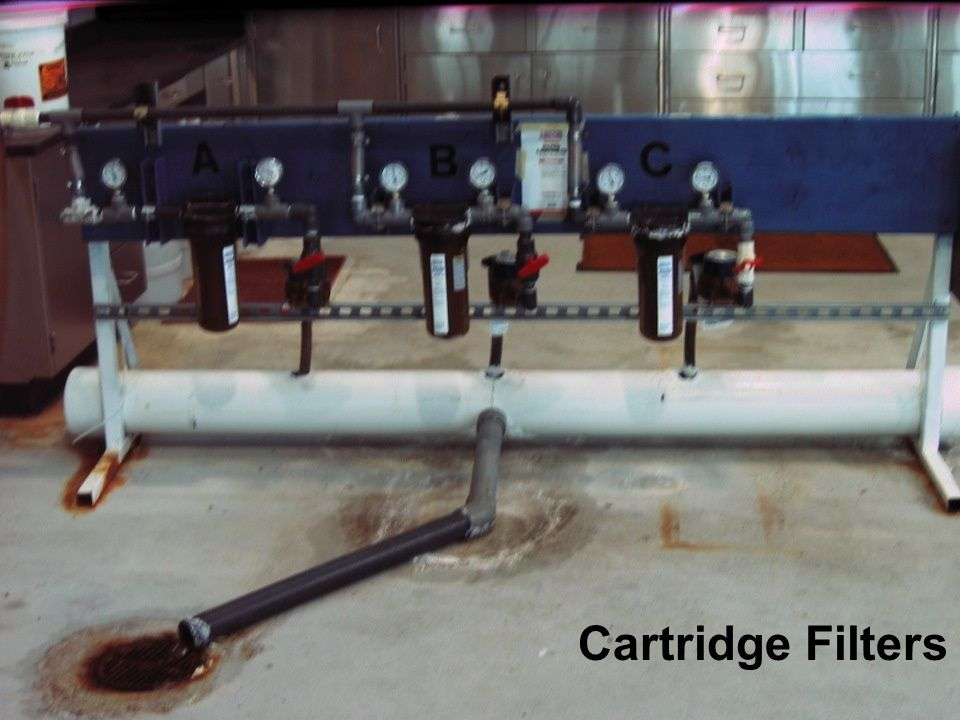 This is a picture of the laboratory set up at the KBH Desalination plant for the Cartridge Filter study.