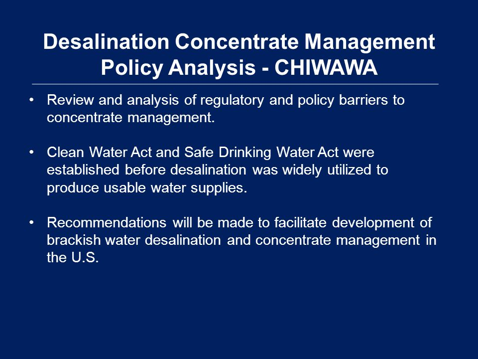 Desalination Concentrate Management Policy Analysis - CHIWAWA