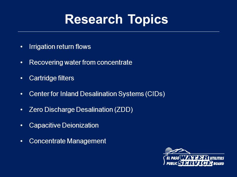 Research Topics Irrigation return flows