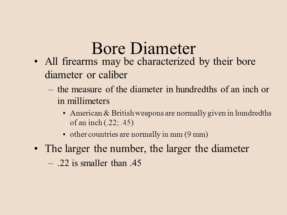 Bore Diameter All firearms may be characterized by their bore diameter or caliber.