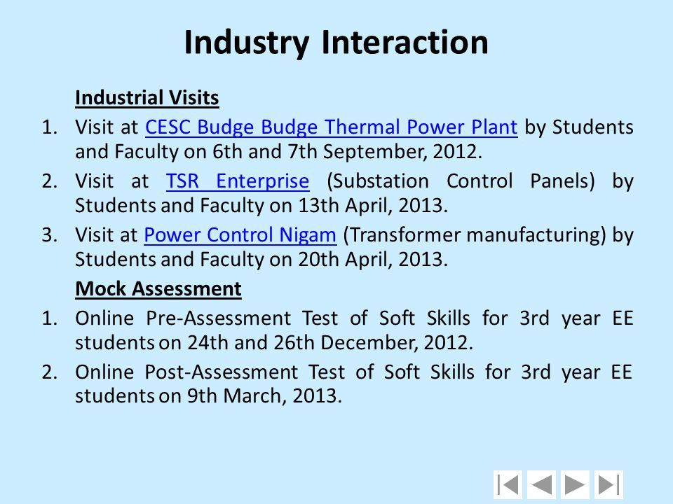Industry Interaction Industrial Visits