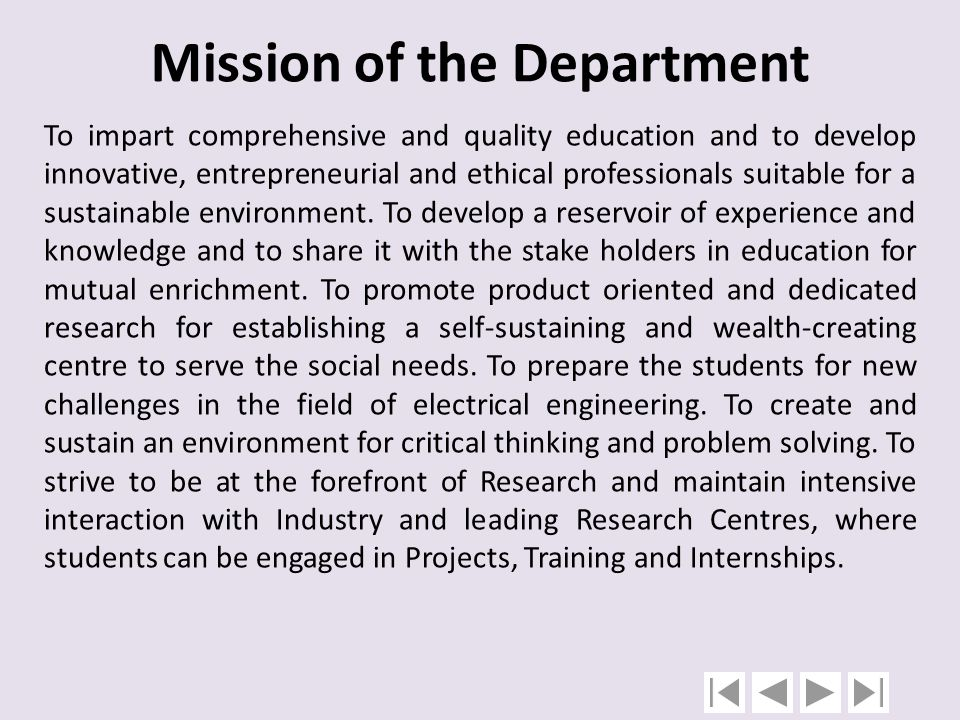 Mission of the Department