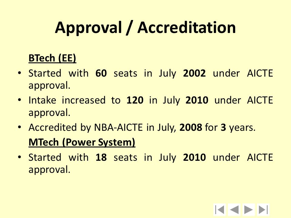 Approval / Accreditation