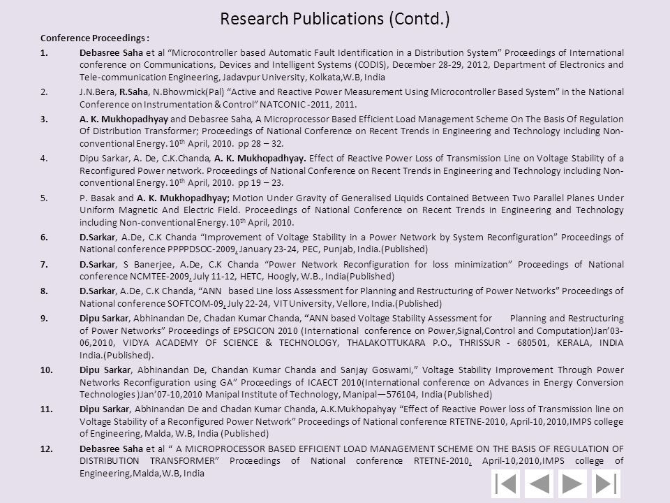 Research Publications (Contd.)