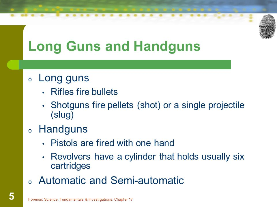 Long Guns and Handguns Long guns Handguns Automatic and Semi-automatic