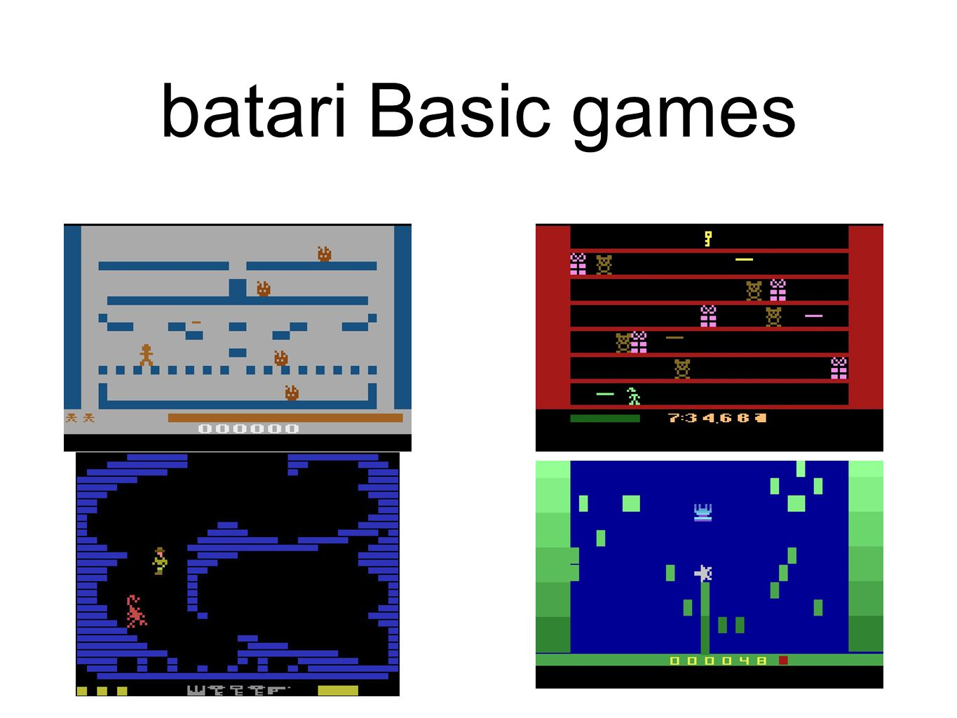 batari Basic games Gingerbread man, Elf Dash Cave-in, Seaweed Assault
